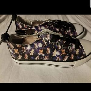 Galaxy cats lace up sneakers
